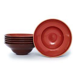 Pasta Bowl Twirl Coral 23 cm - Set x6